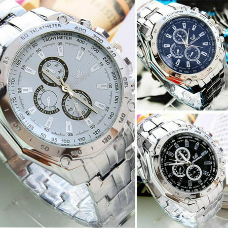 Men's Watch Fashion Stainless Steel Belt Quartz Watch Sport Business (Flower Fashion Watch)