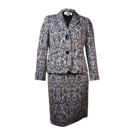 Le Suit Women's English Garden Jacquard Skirt Suit