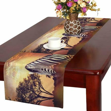 MKHERT Zebra Portrait on African Sunset Africa Safari Wildlife Table Runner Home Decor for Kitchen Dining Wedding Party 16x72 Inch - Safari Home Decor