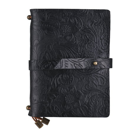 Leather Vintage Embossed Pattern Travel Journal Notebook Lined Blank Grid Paper Diary Refillable Notepad Gift for Men & Women Sketching Writing