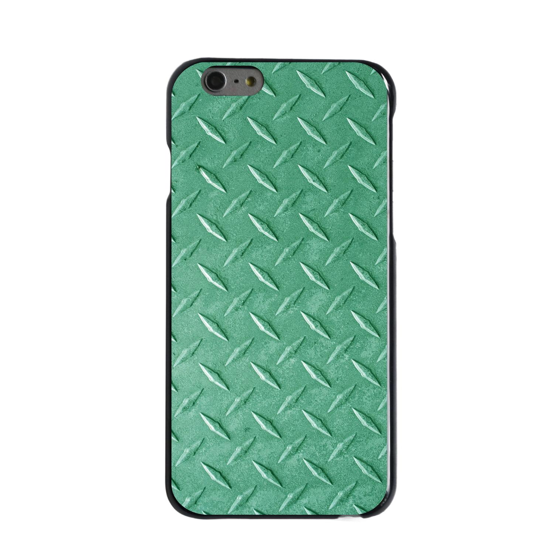 "CUSTOM Black Hard Plastic Snap-On Case for Apple iPhone 6 PLUS / 6S PLUS (5.5"" Screen) - Green Diamond Plate Steel"