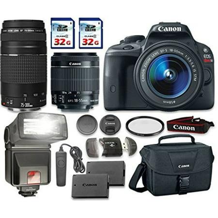 Canon EOS Rebel SL1 Camera Bundle with Canon EF-S 18-55mm f/3.5-5.6 IS STM Lens + Canon EF 75-300mm f/4-5.6 III Lens + 2pc 32 GB SD Card + Card Reader +