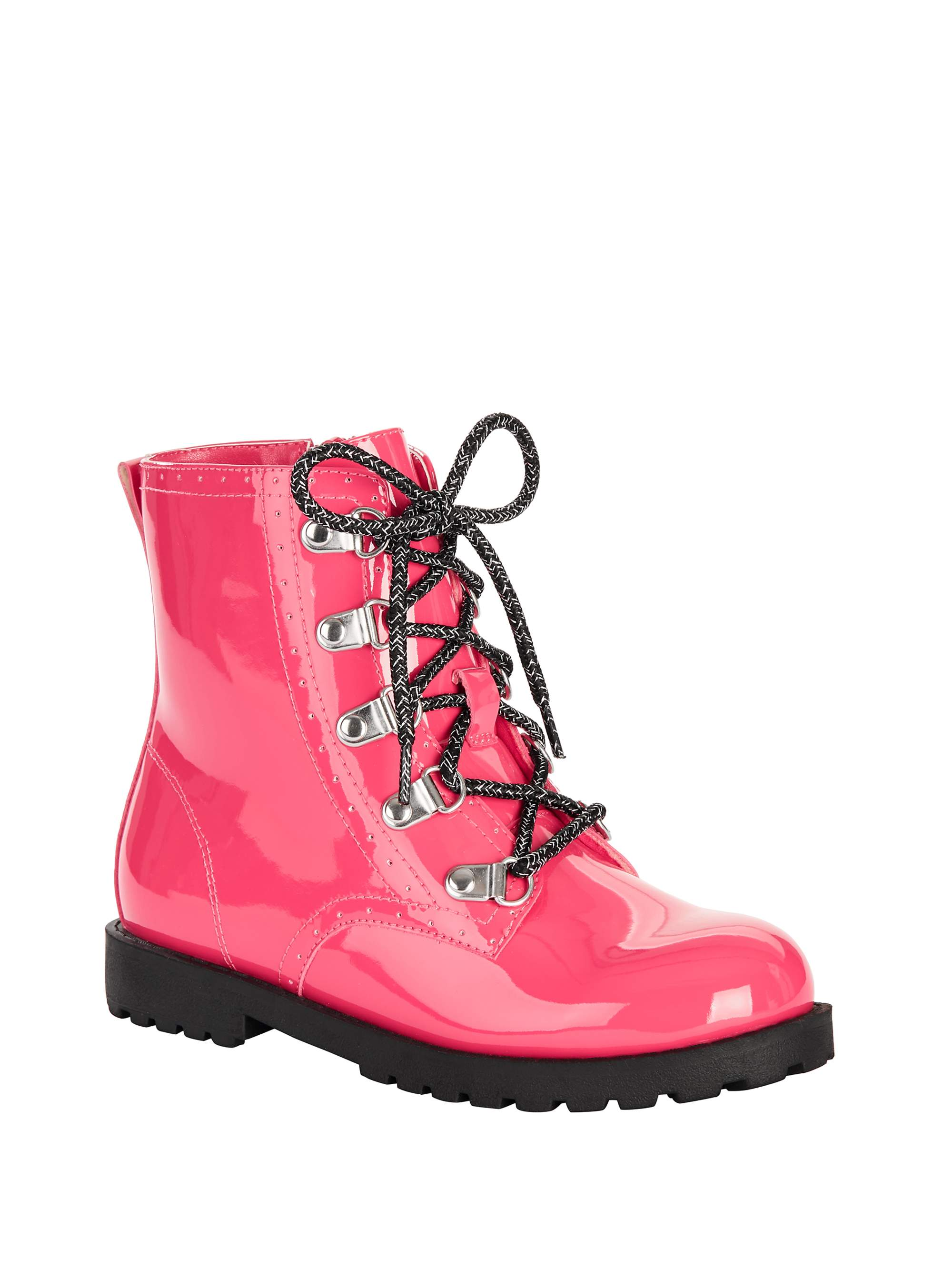 Wonder Nation Glossy Lace-Up Moto Boot (Little Girls & Big Girls)