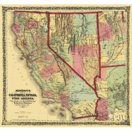 Old State Map - California, Nevada, Utah, Arizona - Bancroft 1873 ...