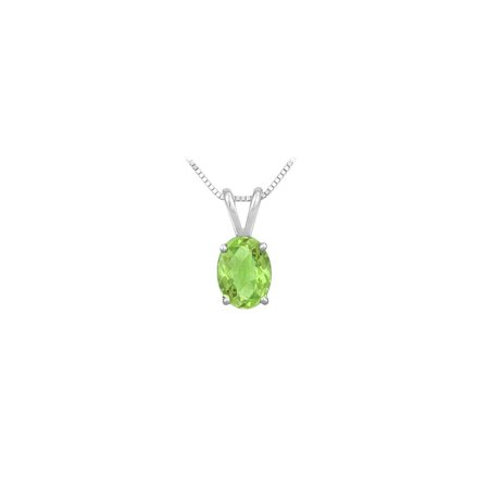 Peridot Solitaire Pendant in Rhodium Treated 925 Sterling Silver 2.00 CT TGW Jewelry - image 1 de 2