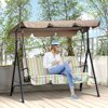 Outsunny Steel Outdoor Porch Swing Lounge Chair 3 Person with Top Canopy