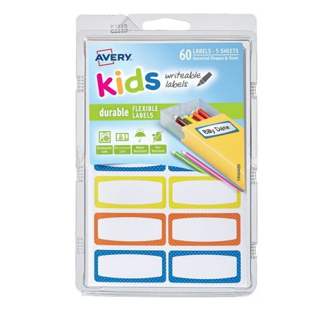 Avery(R) Durable Labels for Kids' Gear 41442, Assorted, 3/4