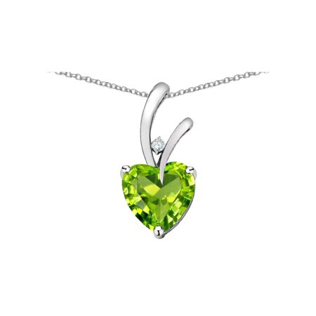 Genuine Peridot Heart Pendant - Star K Heart Shape 8mm Genuine Peridot Endless Love Pendant Necklace