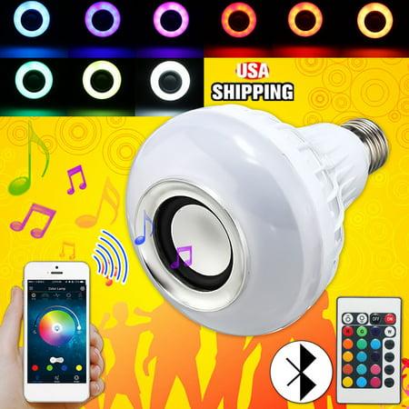 4 Packs E27 LED RGB bluetooth Speaker Bulb Wireless 12W Power Music Playing Light Lamp Christmas Party