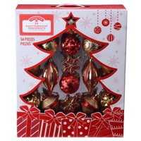 Holiday Time Shatterproof Ornament Box Set, Red & Gold, 54 Count
