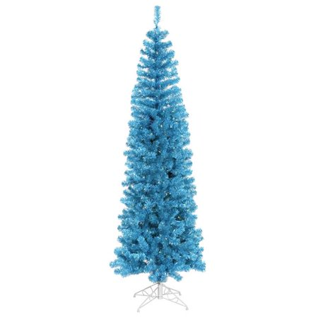 Sky Blue Pencil Dura-Lit Christmas Tree with Teal Lights, 6.5 ft. x 27 in. ()