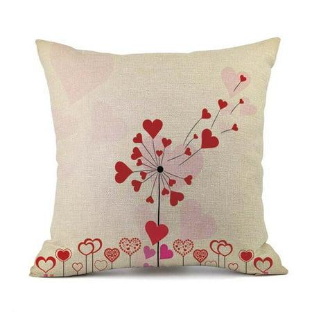 Happy Valentines Pillow Cases Linen Sofa Cushion Cover Home Decor Pillow Case
