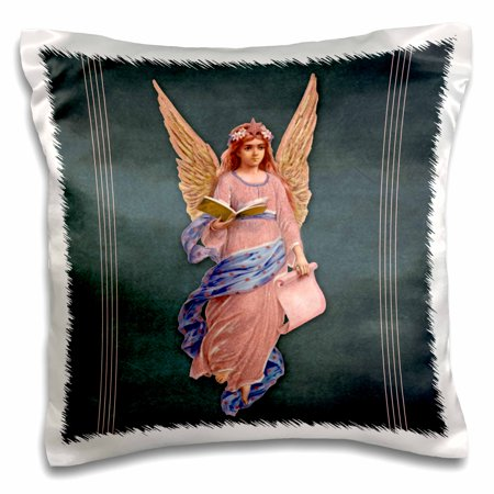 3dRose Angel in pink robe with blue sash and orange wings on a blue background and pink line accents, Pillow Case, 16 by 16-inch