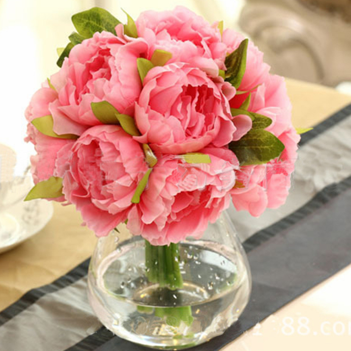 Artificial Peony Silk Flowers 10 Heads with Leaf Bouquet Wedding Bridal Party Garden Multicolor