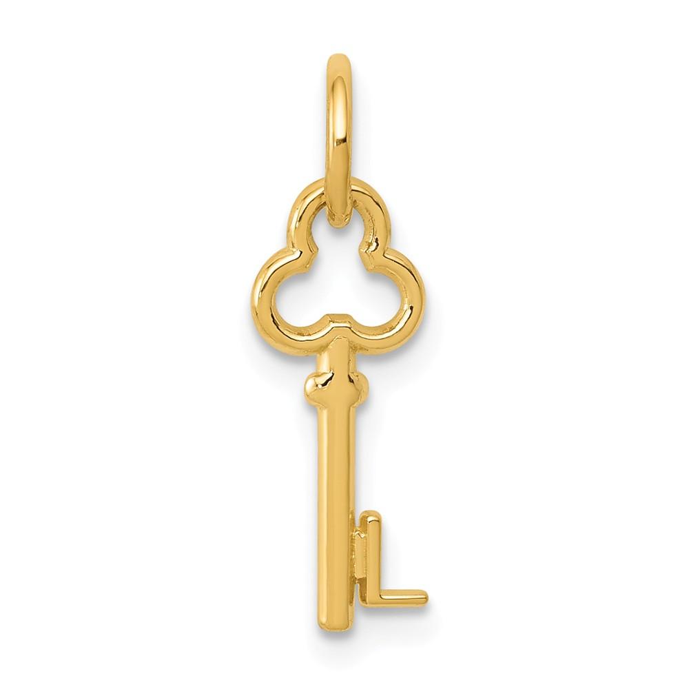 14k Yellow Gold L Key Charm Pendant