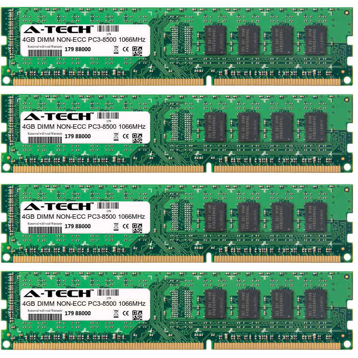 16GB Kit 4x 4GB Modules PC3-8500 1066MHz NON-ECC DDR3 DIMM Desktop 240-pin Memory Ram