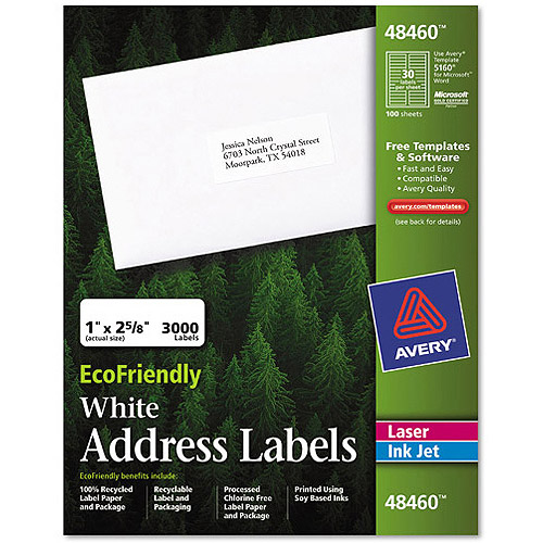 "Avery Eco Friendly Easy Peel White Address Label 48460, 1"" x 2-5/8"", 3000 Labels/Pack"