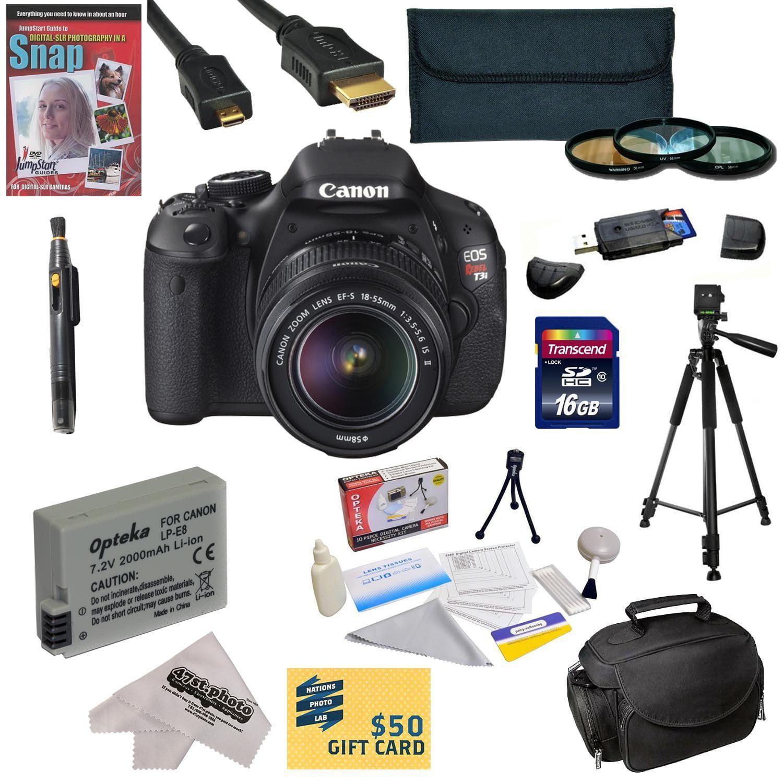 Canon EOS Rebel T3i Black 18MP DSLR Camera, EF-S 18-55mm 1:3 5-5 6 IS II  Lens, 3 0