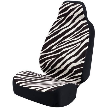 Black Ultra Suede - Coverking Universal Seat Cover Fashion Print, Ultra Suede, Zebra Black Stripes and White Background with Black Interlock Backing