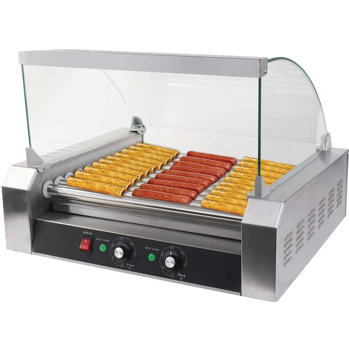 Costway Commercial 30 Hot Dog 11 Roller Grill Cooker Machine W/ cover CE