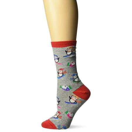 K. Bell Penguins Snowboarding Crew Socks, Gray Heather, Sock Size 9-11/Shoe Size 4-10, 1 Pair