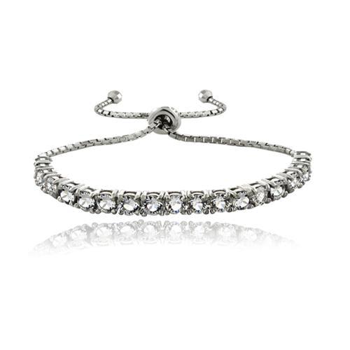 Crystal Ice Sterling Silver Crystal Adjustable Slider Bracelet by Overstock
