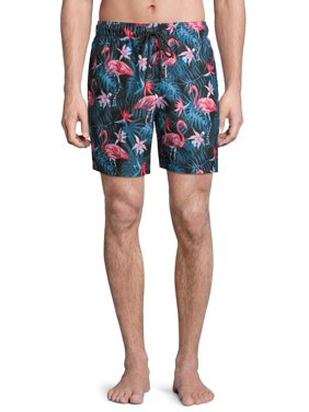 "George Men's and Big Men's 6"" Novelty Swim Trunk with Flamingos, up to Size 3XL"