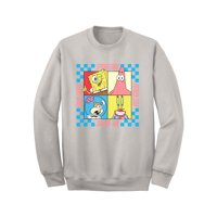 Spongebob Characters Men's Graphic Long Sleeve Fleece Pullover, up to size 2XL (Print On Demand)