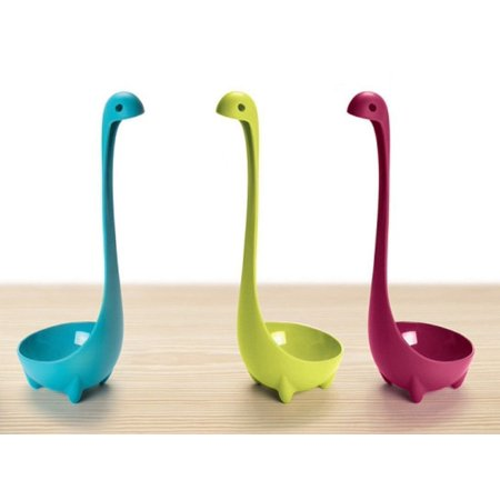 (Pack of 3) Loch Ness Scotland Kitchen Monster Nessie Ladle Cute Creative Cartoon Spoon Tableware for Soup (Blue, Purple, Green)