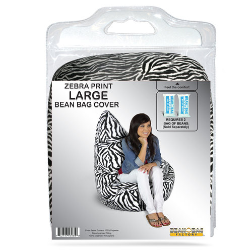 Bean Bag Factory Large Bean Bag, Zebra Print Cover