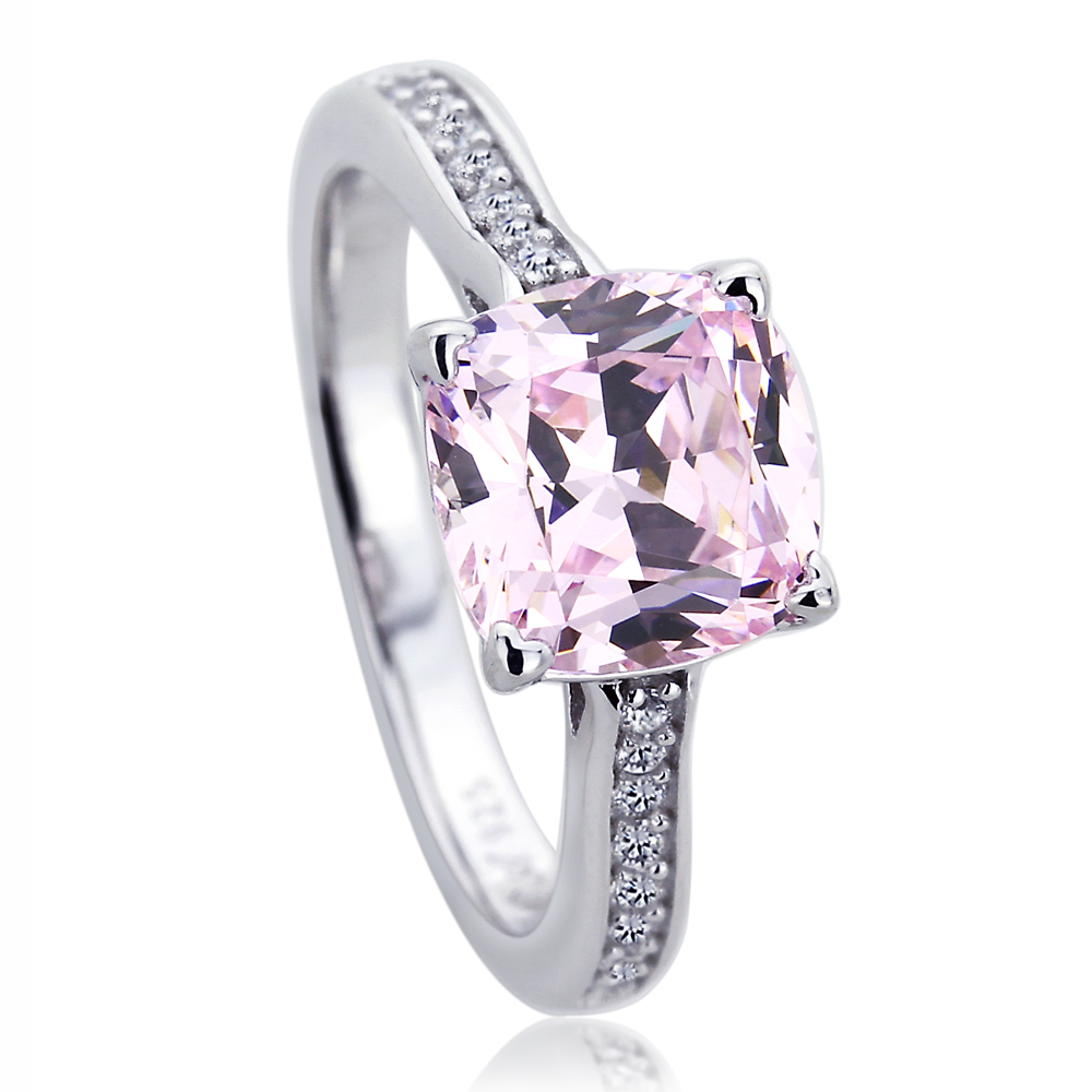 Sterling Silver Platinum Plated Engagement Ring Cushion Cut Pink Cubic Zirconia Solitaire Ring by