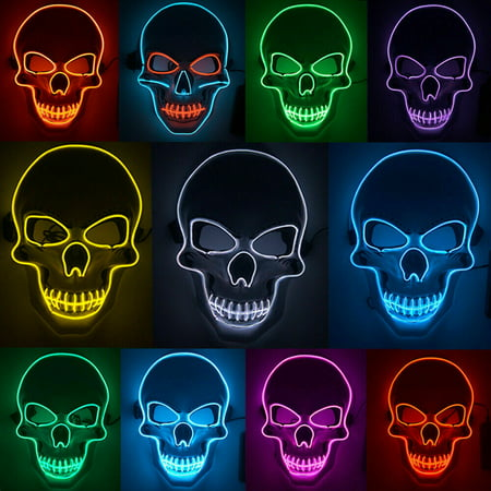 Scary Do It Yourself Halloween Costumes (Stardget LED Scary Skull Halloween Mask Costume Cosplay EL Wire Light Up Halloween)