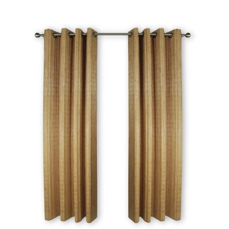 "Pemberly Row 48"" Bamboo Wood Curtain Panel With Grommets in Teak"