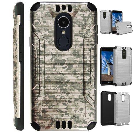 For LG Rebel 3 | LG Rebel 4 Case Brushed Metal Texture Hybrid TPU Silver  Guard Phone Cover (Digital Camo ACU)