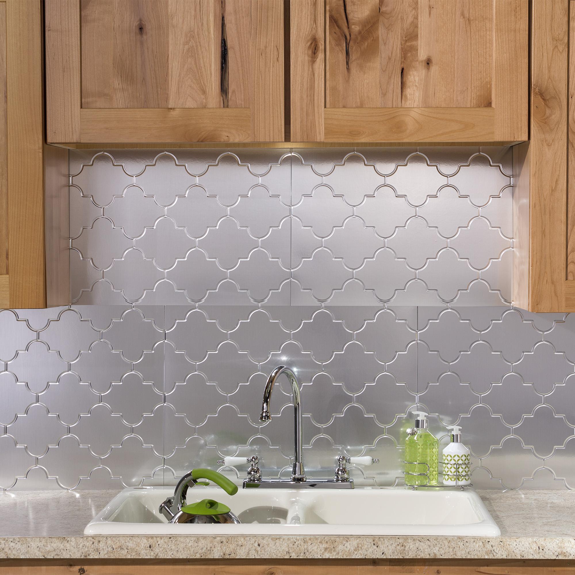 - Fasade Easy Installation Monaco Brushed Aluminum Backsplash Panel
