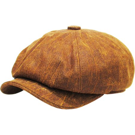 KBETHOS - 100% Genuine Leather Light Brown Mens Ivy Hat Golf Driving Ascot  Flat Cabbie Newsboy - Walmart.com 27dfe5e07d9