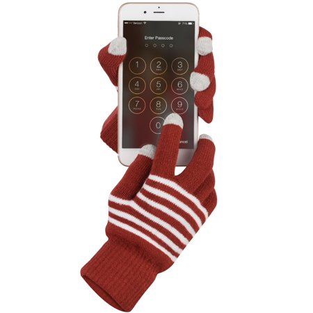 Fosmon Unisex Winter Gloves with Three Conductive Fingertips for All Touchscreen Devices - - Gloves With Lights On Fingertips