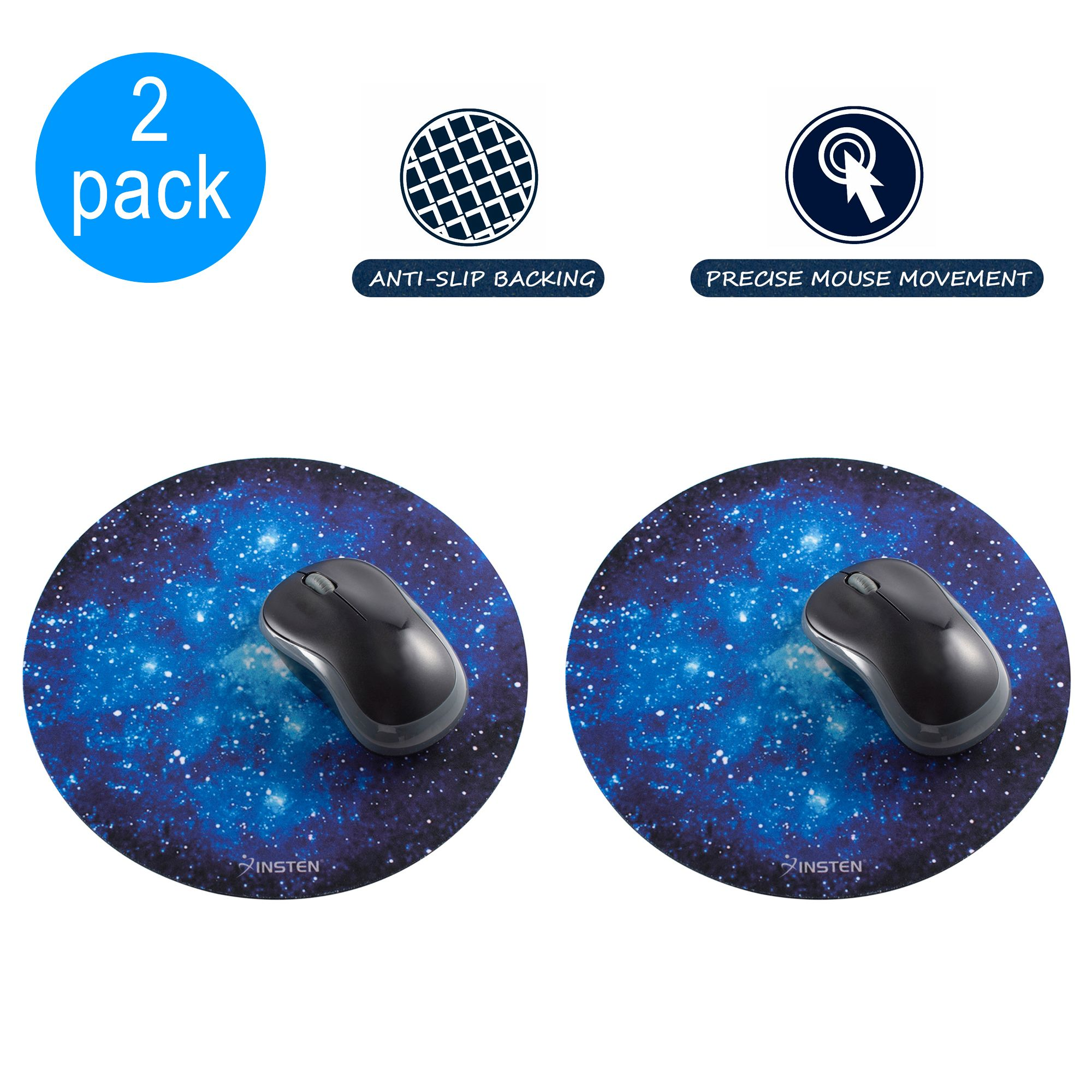 "Insten 2-pack Galactic Space Design Round Galaxy Mouse Mat Pad Anti-Slip Backing Silky Smooth Surface 2mm Ultra Thick Diameter: 8.46"" For Laptop PC Gaming Home Office - Blue Starry Night"