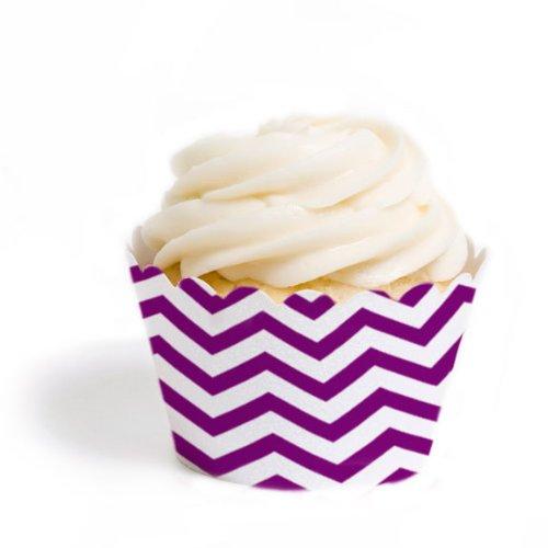 Dress My Cupcake Standard Cupcake Wrappers, Chevron, Plum Purple, Set of 12