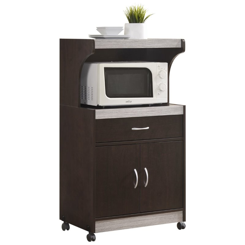 Pemberly Row Microwave Kitchen Cart in Chocolate Gray - image 3 of 5