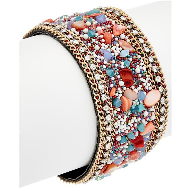 Henri Wills 610211412204 Crystal & Stone Magnetic Closure Bracelet Pink Chalcedony by Henri Wills