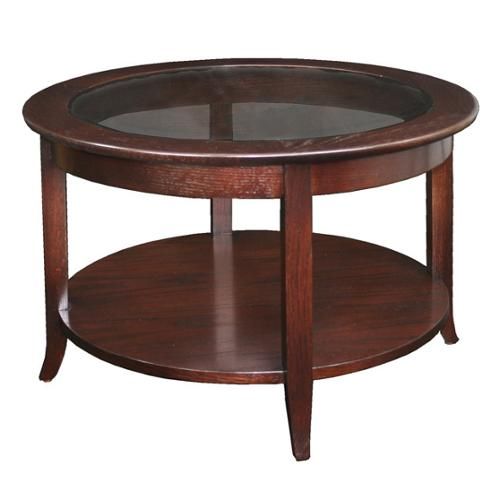KD Furnishings Solid Oak Chocolate Bronze Round Coffee Table