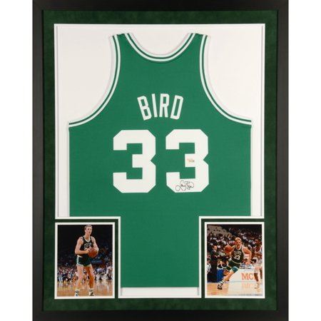 Larry Bird Boston Celtics SM Deluxe Framed Autographed Green Mitchell & Ness Authentic Jersey - Fanatics Authentic Certified (Bennett Autographed Jersey)