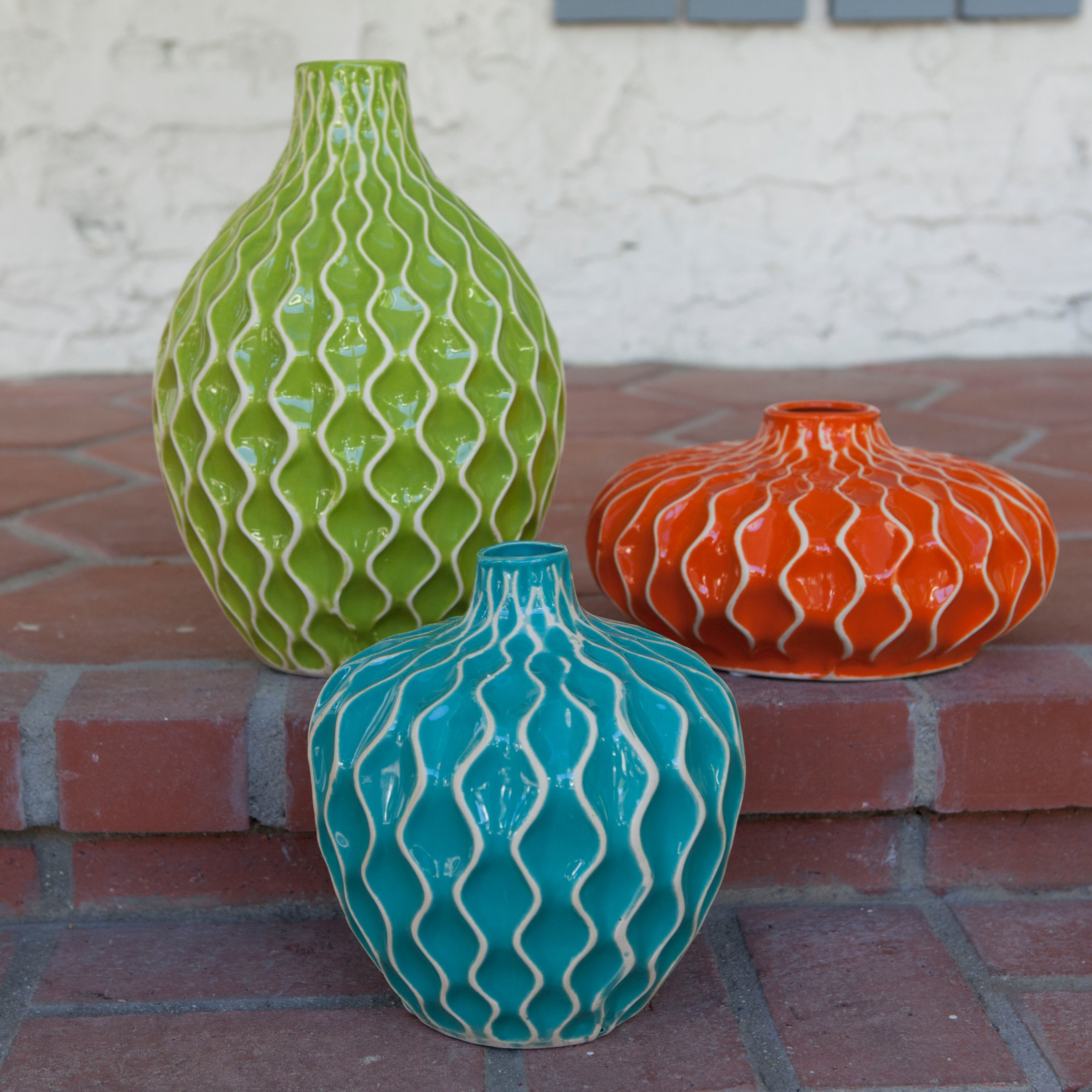 IMAX Agatha Ceramic Vases - Set of 3