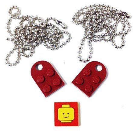 1 Hole Nickel Plated (Lego Parts: Valentine Heart Necklace/Keychain Bundle Kit (2) Dark Red Modified 3 x 2 Plates with Hole (1) Decorative Tile (2) 24