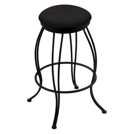 Holland Bar Stool Georgian 30 in. Backless Swivel Bar Stool with Faux Leather Seat - Black Wrinkle