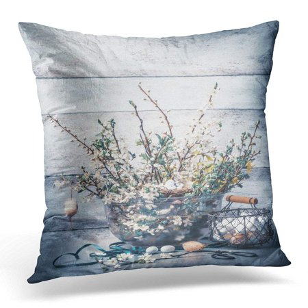 ARHOME Easter Holiday with Springtime Bunch of Spring Branches with Cherry Blossom Basket with Eggs Ribbon Pillow Case Pillow Cover 18x18 inch