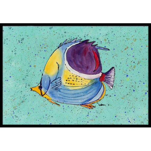 Tropical Fish on Teal Doormat by Caroline's Treasures