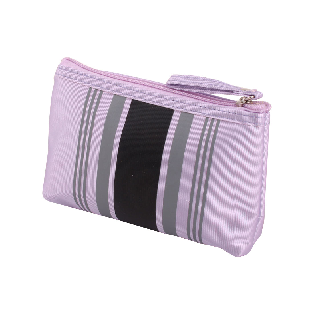 6952ecb9ffcd Lady Polyester Stripes Pattern Zip Up Cosmetic Pouch Bag Holder 7.1 Width