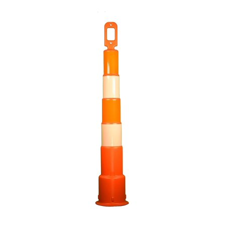 Cortina Safety Products 49'' Orange And White High-Density Polyethylene  Trim Line Channelizer Cone With (4) 6'' Engineer Grade Reflective Stripes  And